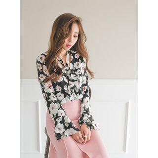 GUMZZI - Bow-Tie Floral Print Blouse