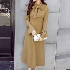 Honeydew - Tie Neck Long Sleeve Midi Knit Dress