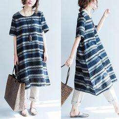 Gaia - Striped Short Sleeve Midi Dress