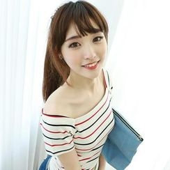 Dodostyle - Square-Neck Striped T-Shirt