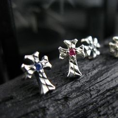 Sterlingworth - Hand Made Ruby Cross Single Stud Earring