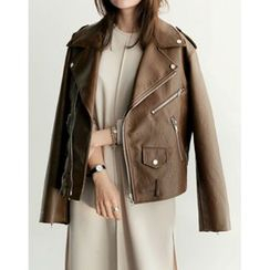 UPTOWNHOLIC - Zip-Detail Faux-Leather Jacket