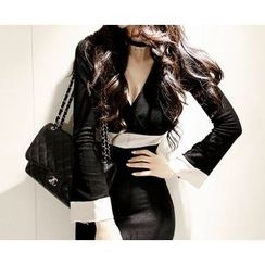 Marlangrouge - Wrap-Front Contrast-Trim Dress