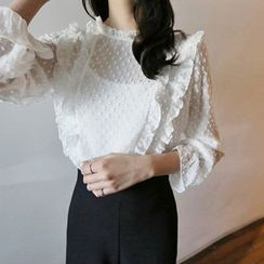 Hello sweety - Frill-Trim Polka-Dot Top