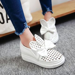 Shoes Galore - Rabbit Ear Perforated Platform Slip-Ons