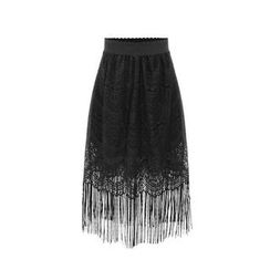 GRACI - Lace Fringe Midi Skirt