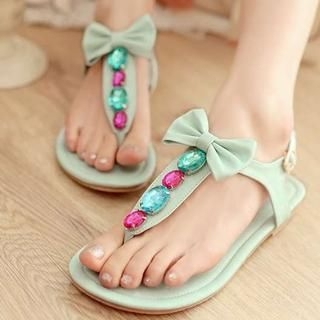 Pangmama - Bow-Accent Jeweled Sandals