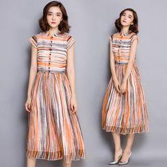 Yeeya - Stripe Midi Chiffon Dress