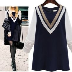 VIZZI - 插色長袖連衣裙