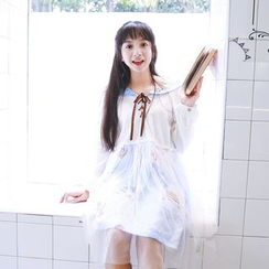 Angel Love - Printed Sailor Collar Long Sleeve Dress