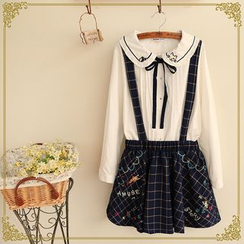 Fairyland - Embroidered Check Jumper Skirt