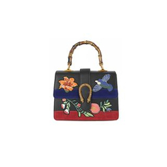 DABAGIRL - Mock Bamboo-Handle Embroidered Satchel