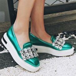 JY Shoes - Embellished Hidden Platform Loafers