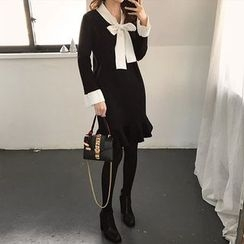 Seoul Fashion - Tie-Front Ruffle-Hem Knit Dress