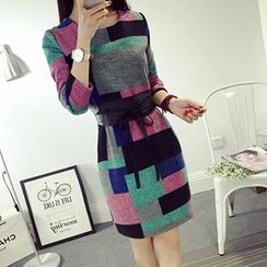 lilygirl - Long-Sleeve Woolen Plaid Dress