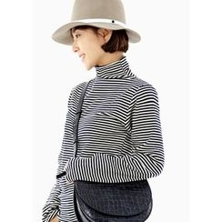 ssongbyssong - Turtle-Neck Striped Top