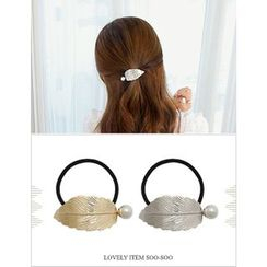 soo n soo - Faux-Pearl Trim Metallic Leaf Hair Tie (2 Designs)
