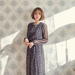 Seoul Fashion - Gather-Waist Patterned Chiffon Long Dress