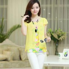 Century Girl - Short-Sleeve Chiffon Floral Blouse