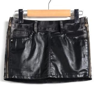 9mg - Faux Leather-Panel Washed Denim Miniskirt