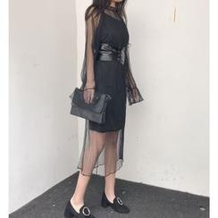 Bloombloom - Set : Strap Dress + Bell-Sleeve Mesh Dress