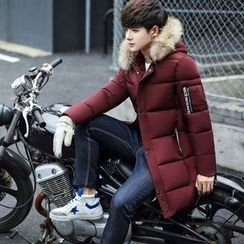 Besto - Furry Hooded Padded Long Coat
