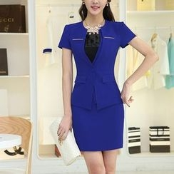 Princess Min - Set: Short-Sleeve Jacket + Pencil Skirt