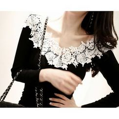 Marlangrouge - Lace-Detail Tube-Hem Bodycon Dress