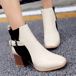 Gizmal Boots - Color Block Block Heel Ankle Boots