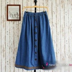 JVL - Button-Front Denim Long Skirt