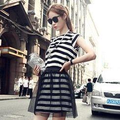 Sisi Fashion - Set: Cap-Sleeve Striped Top + Mesh Overlay Striped Skirt