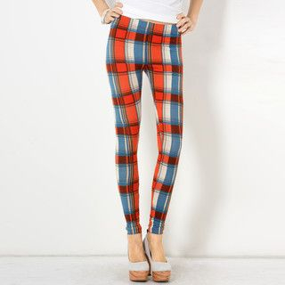 YesStyle Z - Elastic-Waist Plaid Leggings