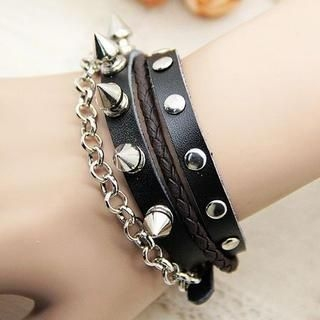 MURATI - Studded Braided-Strap Bangle