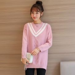 Colorful Shop - Long-Sleeve Knit Top