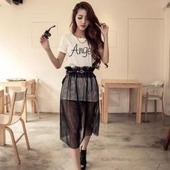Sweet Dolly - Set: Short-Sleeve Lettering T-Shirt + Tulle Skirt