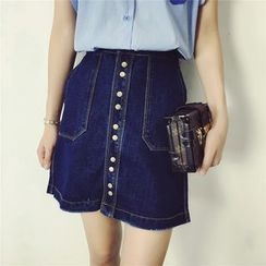 Kojasmine - Buttoned Denim A-Line Skirt