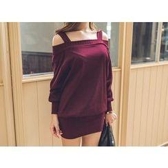 UUZONE - Cutaway-Shoulder Ribbed Dress