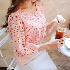 Cherryville - Ruffle-Cuff Perforated Lace Blouse