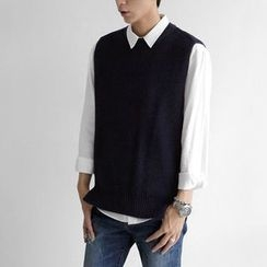 Seoul Homme - Crew-Neck Sleeveless Knit Top