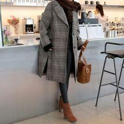 DABAGIRL - Wide-Lapel Wool Blend Glen-Plaid Coat