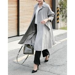 UPTOWNHOLIC - Hidden-Button Trench Coat