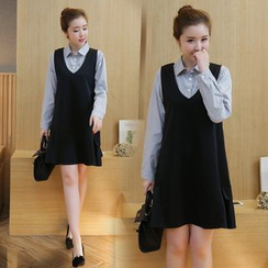 Mapple - 孕婦套裝:條紋襯衫 + 背心裙