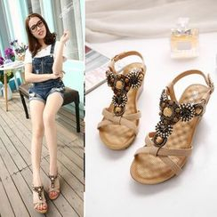 Anran - Embellished Wedge Sandals