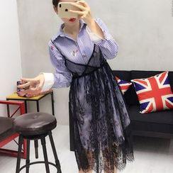 small dots - Set: Pinstripe Shirt + Strap Lace Dress