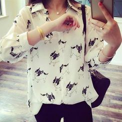 Clair Fashion - Dog Pattern Chiffon Shirt