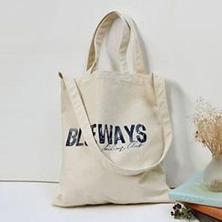 Aoba - Lettering Canvas Shopper Bag