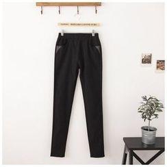 Maymaylu Dreams - 长裤。细条纹极致修修腿长裤