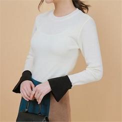 Styleberry - Round-Neck Contrast-Cuff Knit Top