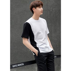 GERIO - Round-Neck Short-Sleeve Two-Tone T-Shirt