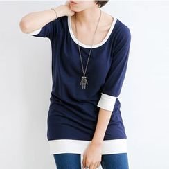 Raisin - Piped Elbow-Sleeve T-shirt